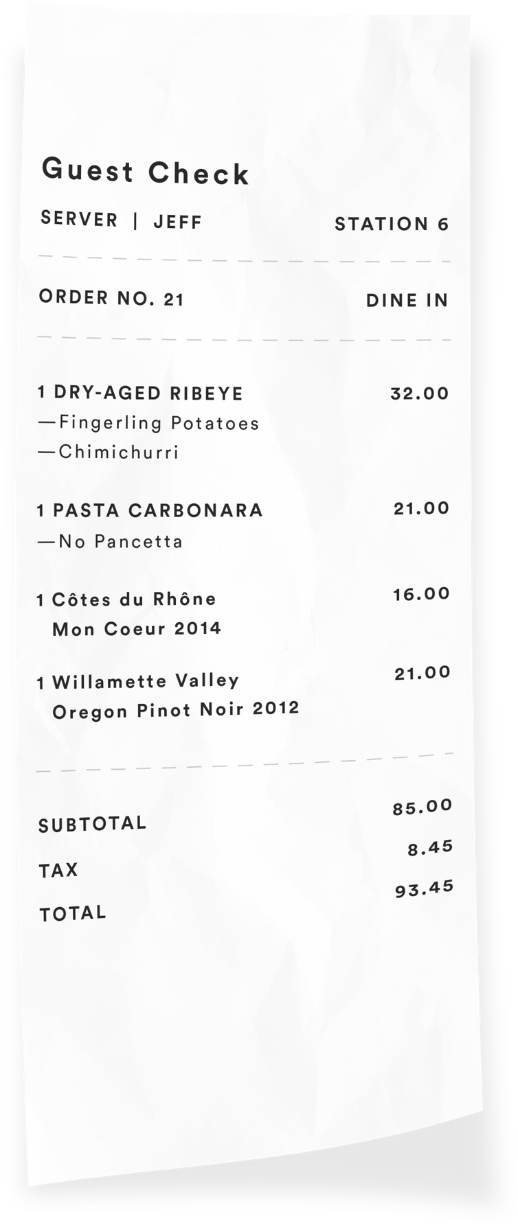 Itemized restaurant receipt